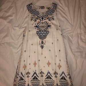 Aztec print white dress
